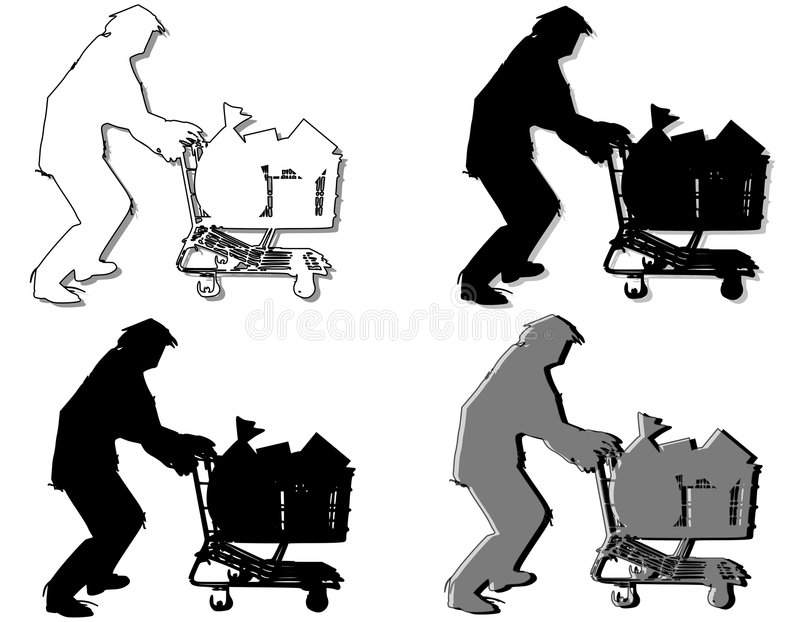 Homeless Man Pushing Shopping Cart stock illustration