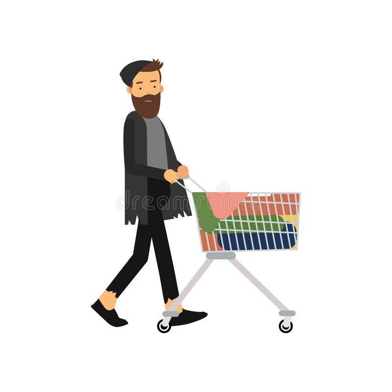 Homeless man pushing shopping cart with his possessions, unemployment male needing for help cartoon vector illustration. Isolated on a white background stock illustration