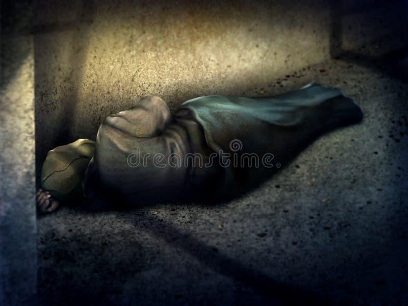 Homeless Man Sleeping - Digital Painting. Digital painting of a homeless man asleep on the ground in a dark alley vector illustration