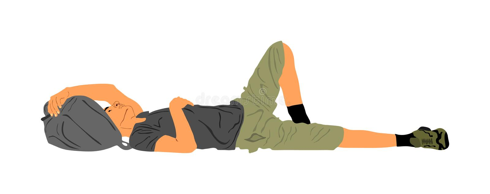 Homeless man sleeping on the street on the ground, vector.Border situation, illegal emigration and social crises.. Homeless man sleeping on the street on the royalty free illustration
