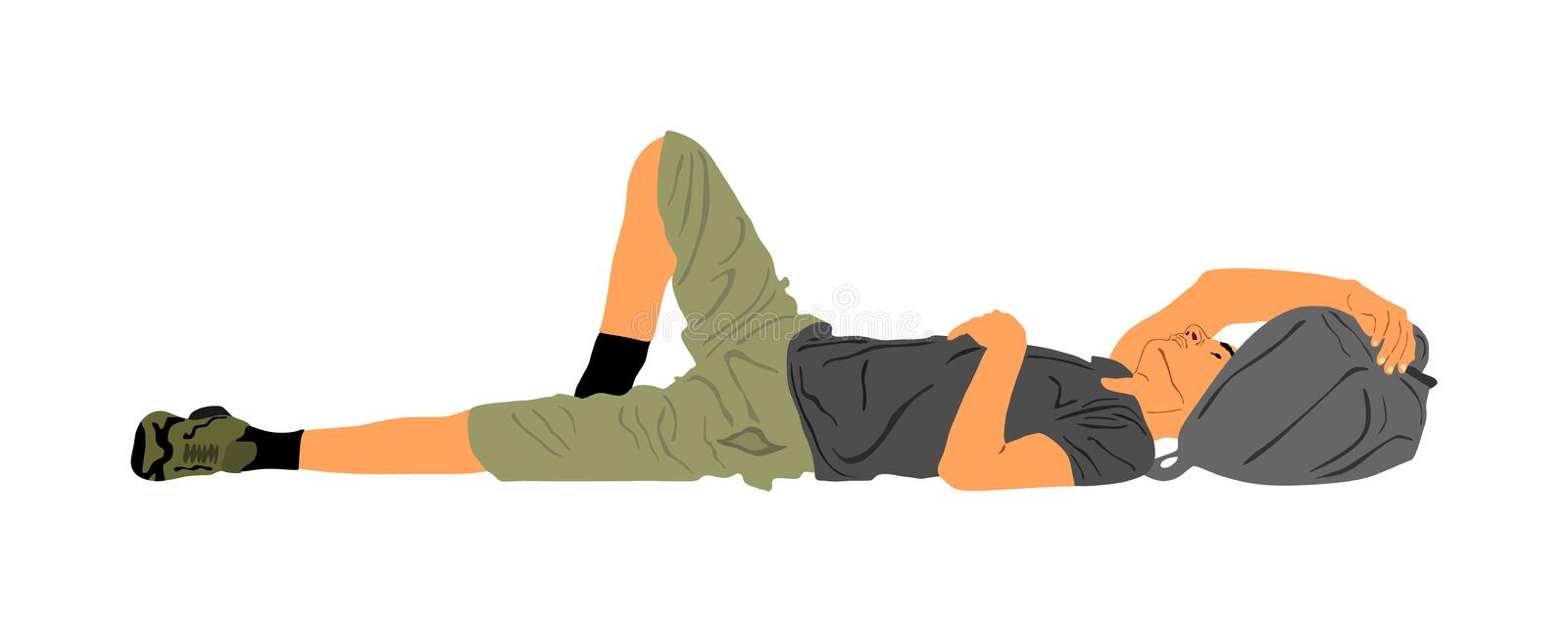 Homeless man sleeping on the street on the ground, vector illustration. Migrant from Middle East resting on the ground. Border. royalty free illustration