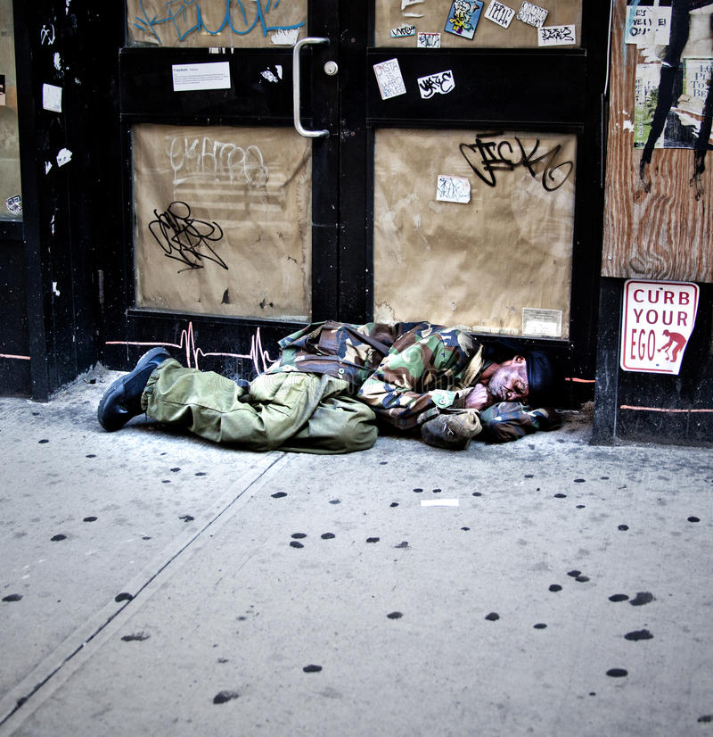 Homeless Man on the Streets of New York royalty free stock image