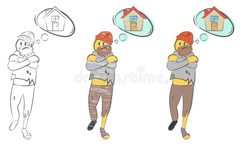 Sad poor grandfather. Homeless man. Tramp seeks refuge. Dreams about home. Homeless man with torn clothes dreams about home. Problems of homeless person concept stock illustration