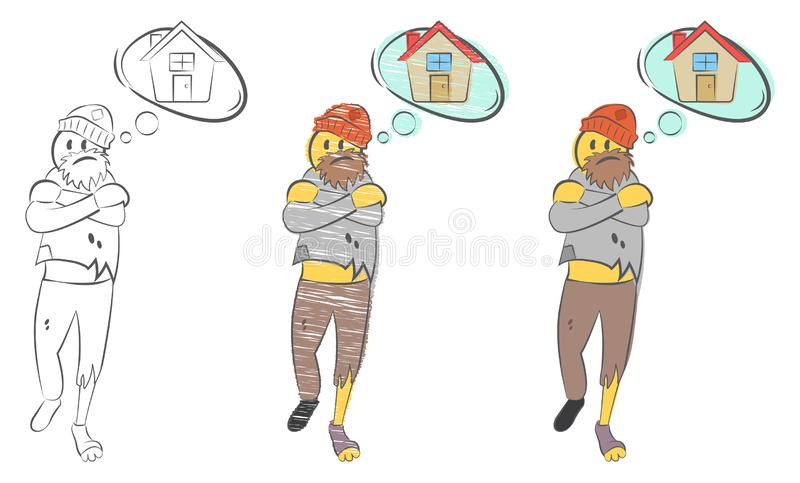 Homeless man with torn clothes dreams about home. Problems of homeless person concept. Tramp seeks refuge. Unemployment guy. Man f. Reezing. Suffers from cold stock illustration