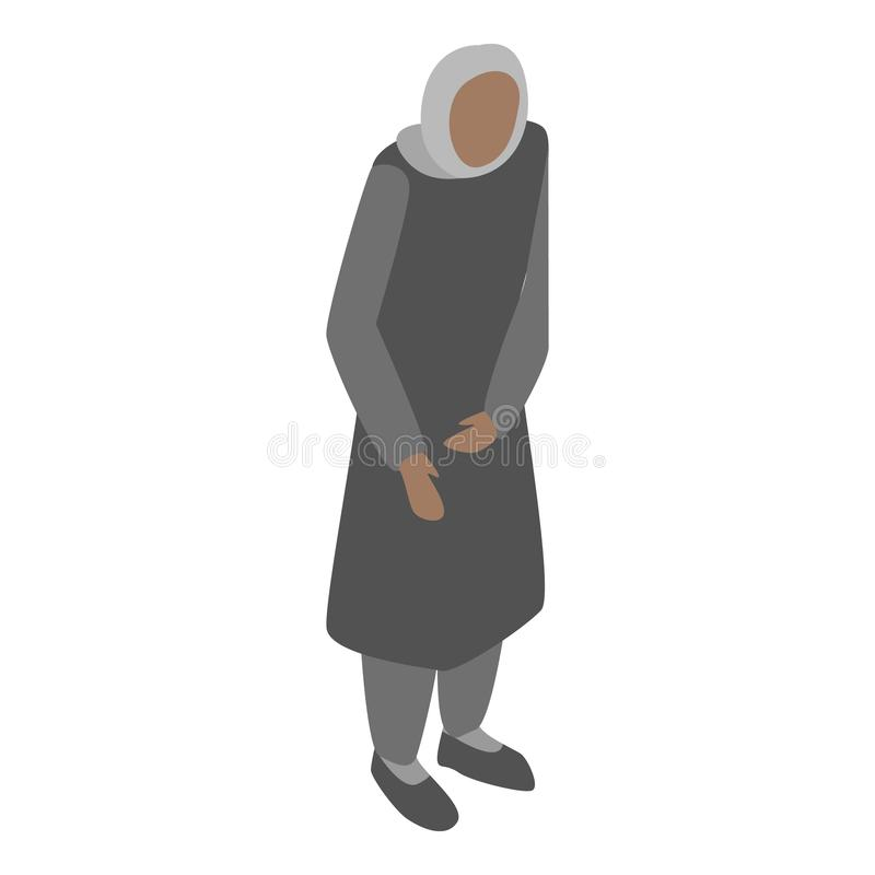 Homeless migrant woman icon, isometric style. Homeless migrant woman icon. Isometric of homeless migrant woman vector icon for web design isolated on white stock illustration