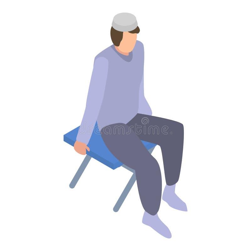 Homeless muslim migrant man icon, isometric style vector illustration