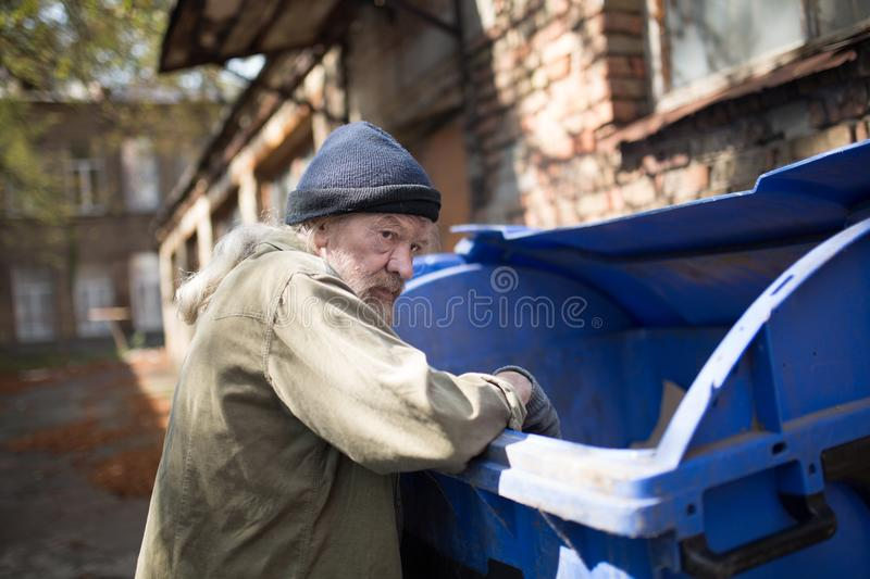 Homeless old man in search for food. stock image
