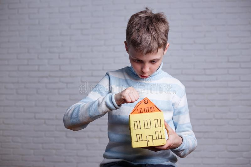Homeless, orphan, settler, migrant, adoption concept. Boy knocki stock photos
