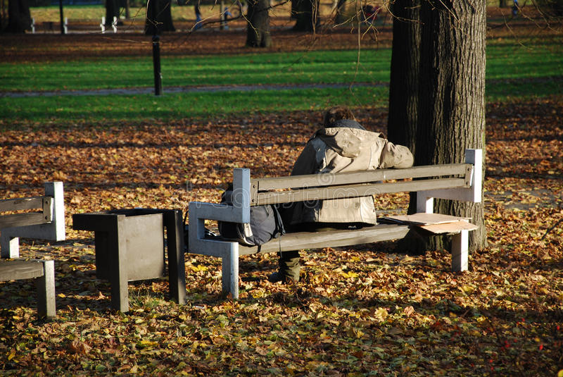 Homeless in the park stock photos