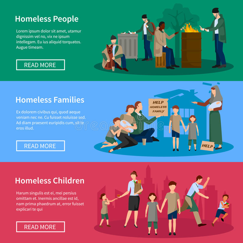 Homeless People Banner Set royalty free illustration