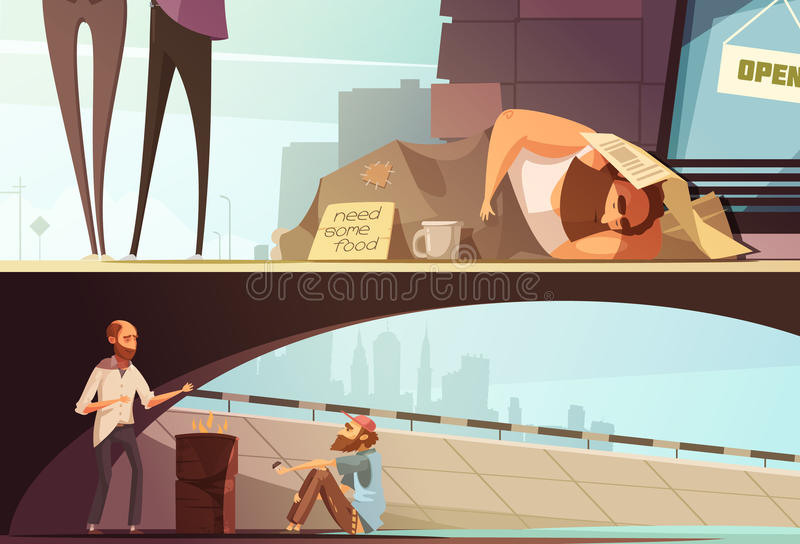 Homeless People Banners stock illustration
