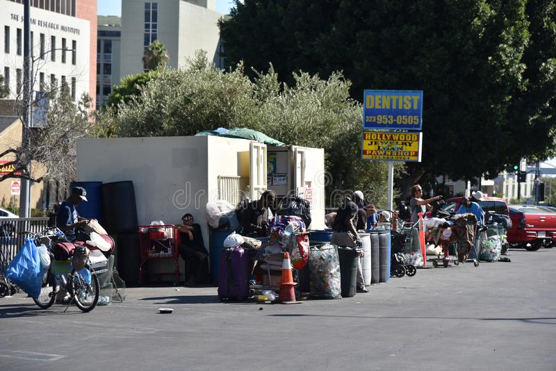 Homeless People Gather at a Recycling Center royalty free stock photos