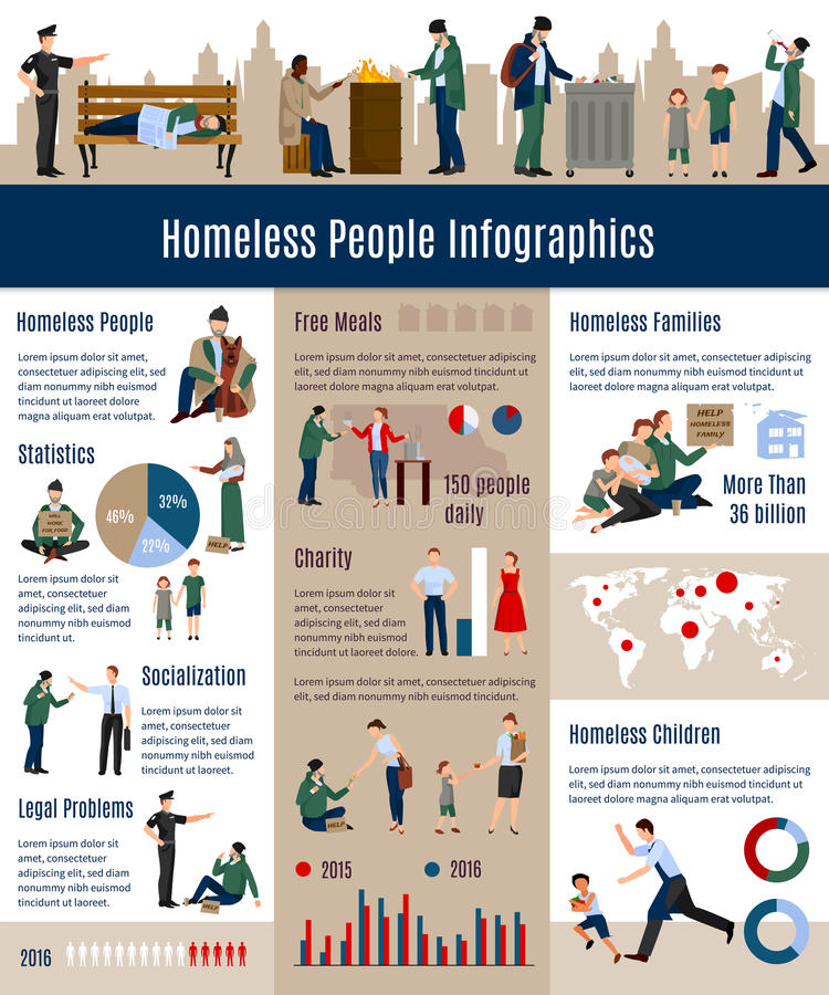 Homeless People Infographics. Proportion growth of homeless people in society related to the previous years illustration stock illustration