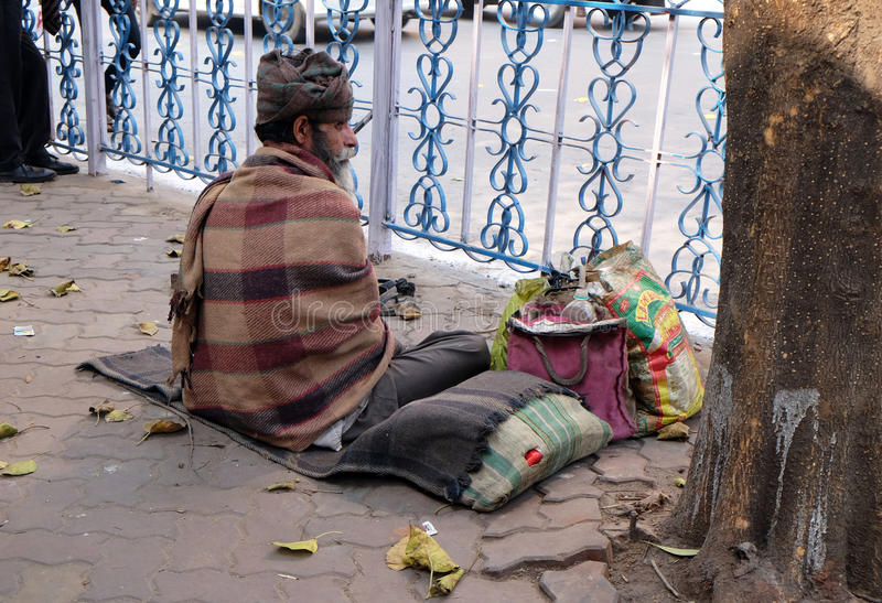 Homeless people living on the streets of Kolkata. India stock photos