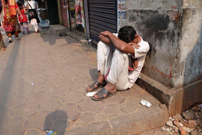 Homeless people sleeping on the footpath of Kolkata. India royalty free stock image