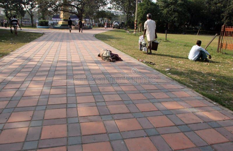 Homeless people sleeping on the footpath of Kolkata. On November 26, 2012 in Kolkata, India stock photography