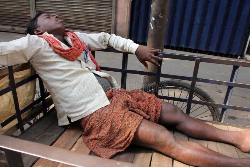 Homeless people sleeping on the footpath of Kolkata. On November 28, 2012 in Kolkata, India stock image