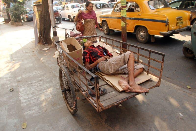 Homeless people sleeping on the footpath of Kolkata. On November 24, 2012 in Kolkata, India stock photos