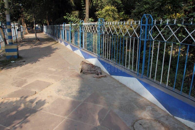 Homeless people sleeping on the footpath of Kolkata. On November 25, 2012 in Kolkata, India stock images