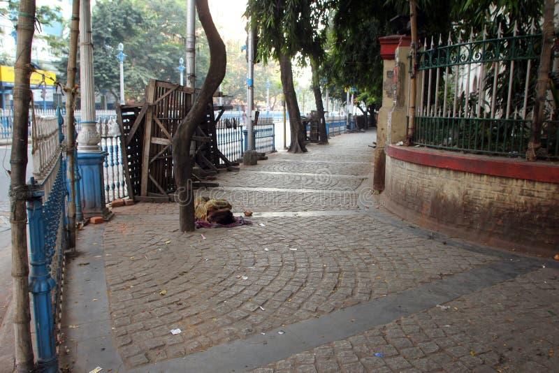 Homeless people sleeping on the footpath of Kolkata. On November 25, 2012 in Kolkata, India stock photography