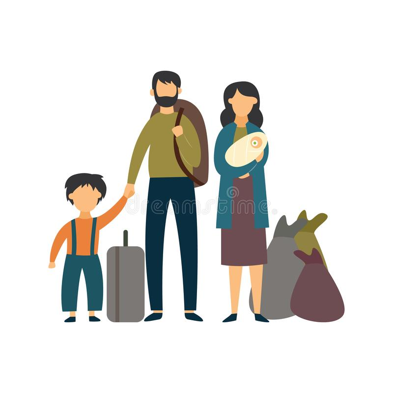 Homeless poor or stateless refugee family flat vector illustration isolated. vector illustration