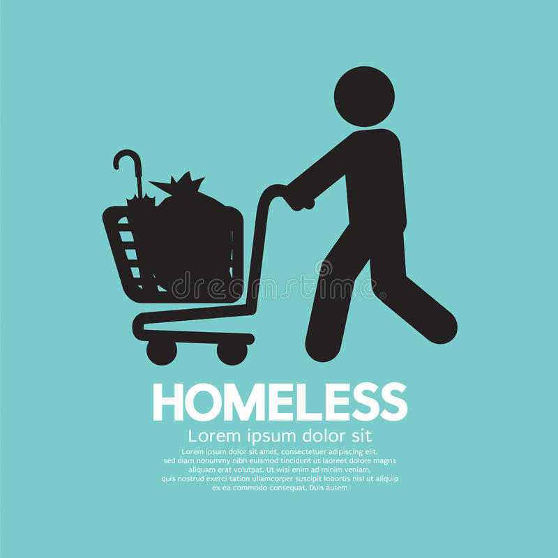 Homeless With Possessions Cart Symbol. Homeless With Possessions Cart Symbol Vector Illustration royalty free illustration