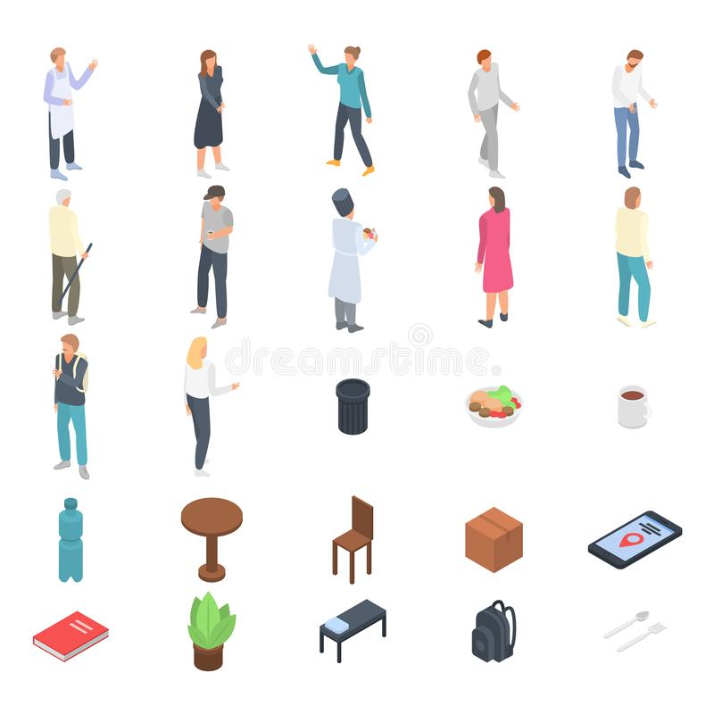 Homeless shelter icons set, isometric style royalty free illustration