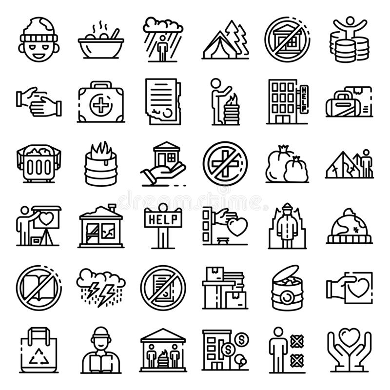 Homeless shelter icons set, outline style stock illustration