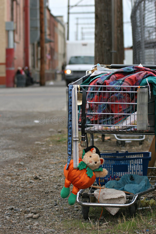 Homeless shopping cart stock image