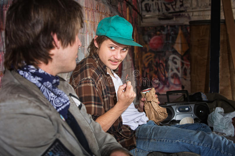 Homeless Teens Talking Stock Images