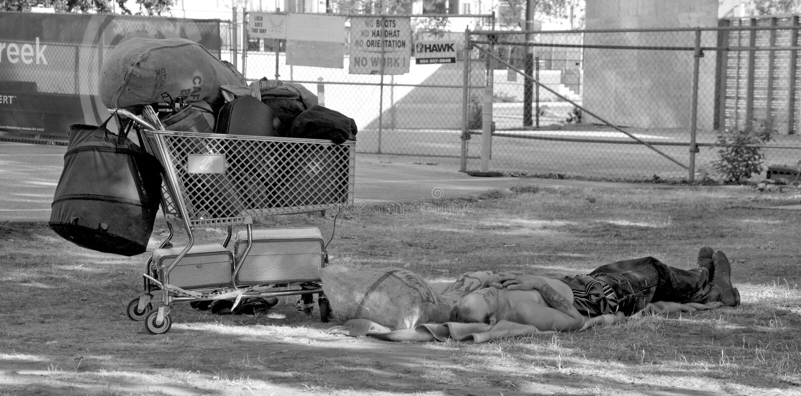 Homeless. VANCOUVER BC CANADA JUNE 12 2015: A total of 1,798 people identified as homeless, with 538 living on the street, 1,136 in shelters and 124 of no fixed stock photos
