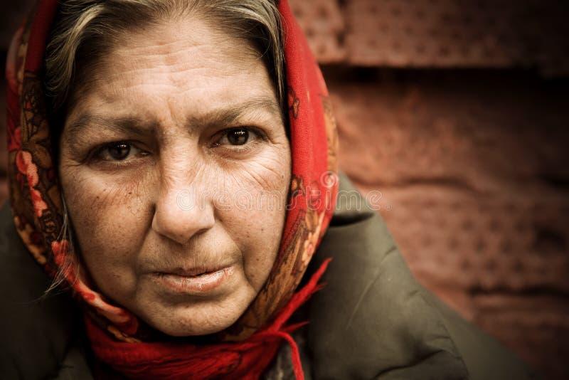 Homeless woman stock image