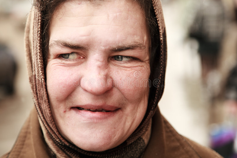 Homeless woman stock images