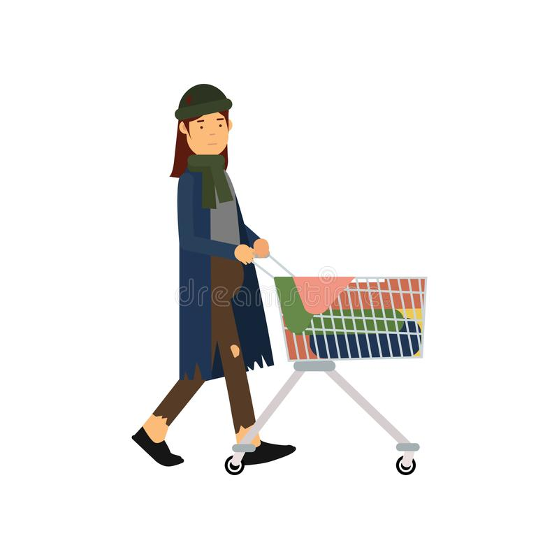 Homeless woman pushing shopping cart with her possessions, unemployment male needing for help cartoon vector. Illustration isolated on a white background vector illustration