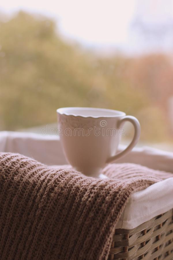Homely home with cup of coffee royalty free stock image