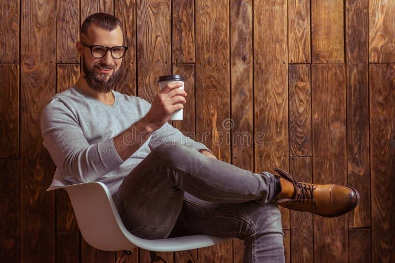 Homem à moda com barba fotos de stock royalty free