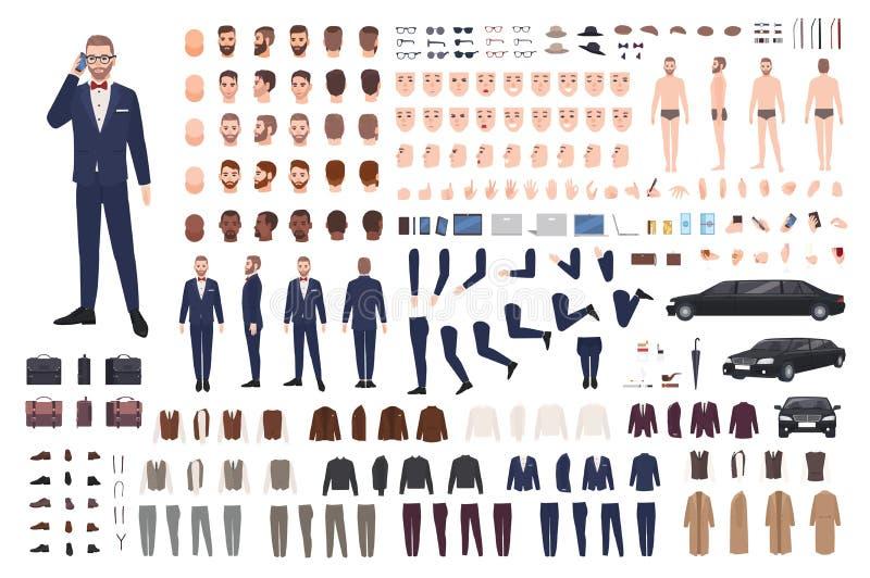 Homem à moda vestido no grupo elegante da criação do terno ou no jogo de DIY Coleção das partes do corpo, roupa, caras, posturas ilustração royalty free
