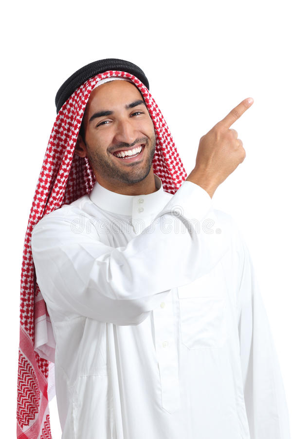Homem árabe do promotor do saudita que aponta no lado foto de stock