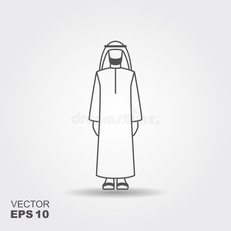 Homem árabe na roupa tradicional Ícone liso do vetor ilustração do vetor