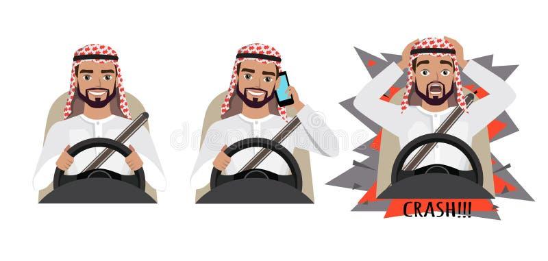 Homem árabe que conduz um carro Equipe a condução de um carro que fala no telefone O homem teve um acidente crash ilustração stock