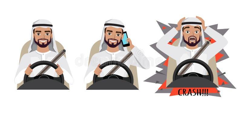 Homem árabe que conduz um carro Equipe a condução de um carro que fala no telefone O homem teve um acidente crash ilustração royalty free