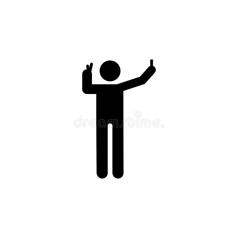 Homem, ícone do selfie Elemento do telefone humano do uso Ícone superior do projeto gráfico da qualidade Sinais e ícone da coleçã ilustração stock