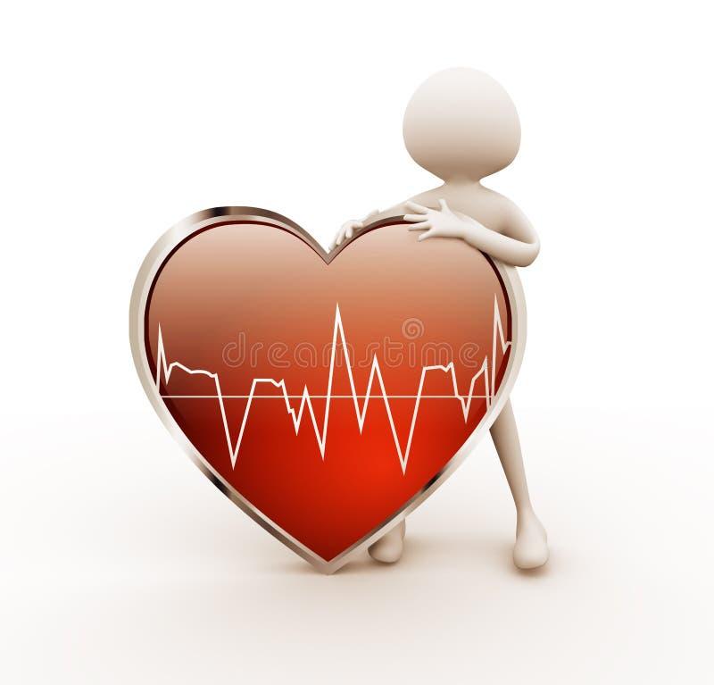 homem 3d com coração ilustração stock