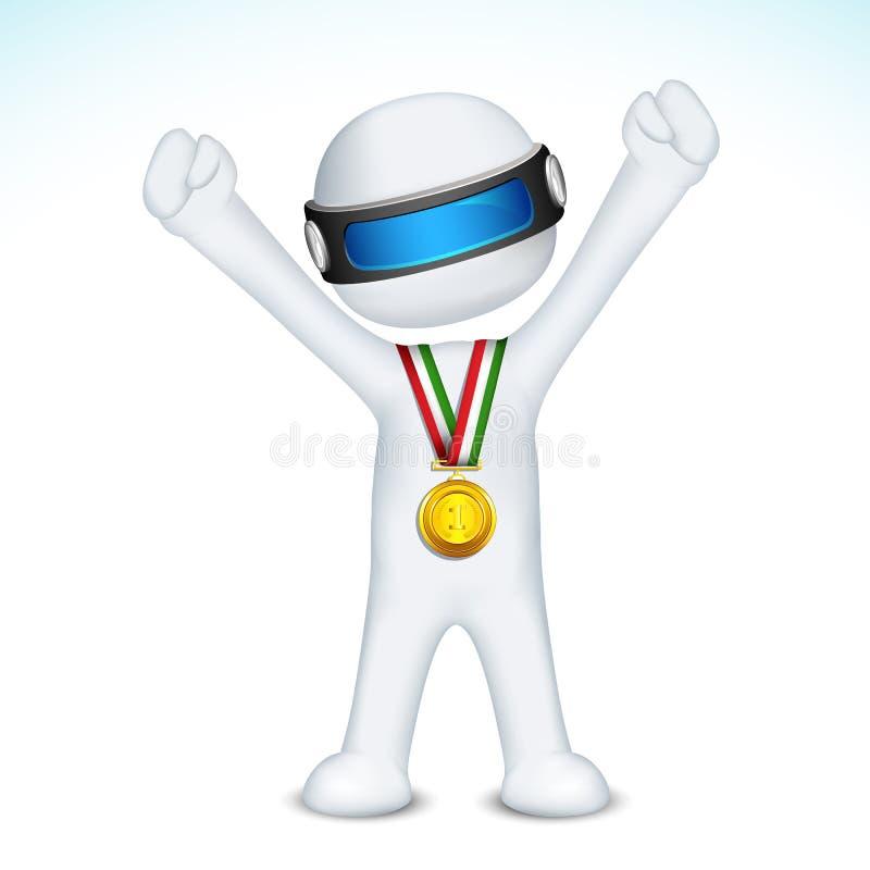 homem 3d com a medalha de ouro no vetor ilustração do vetor