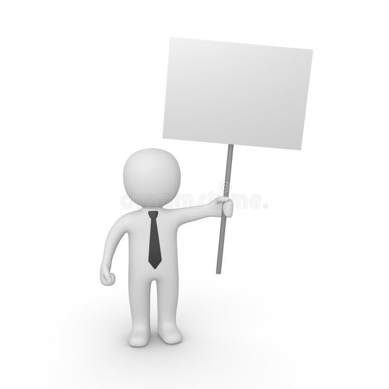 homem 3d com placa do sinal ilustração royalty free
