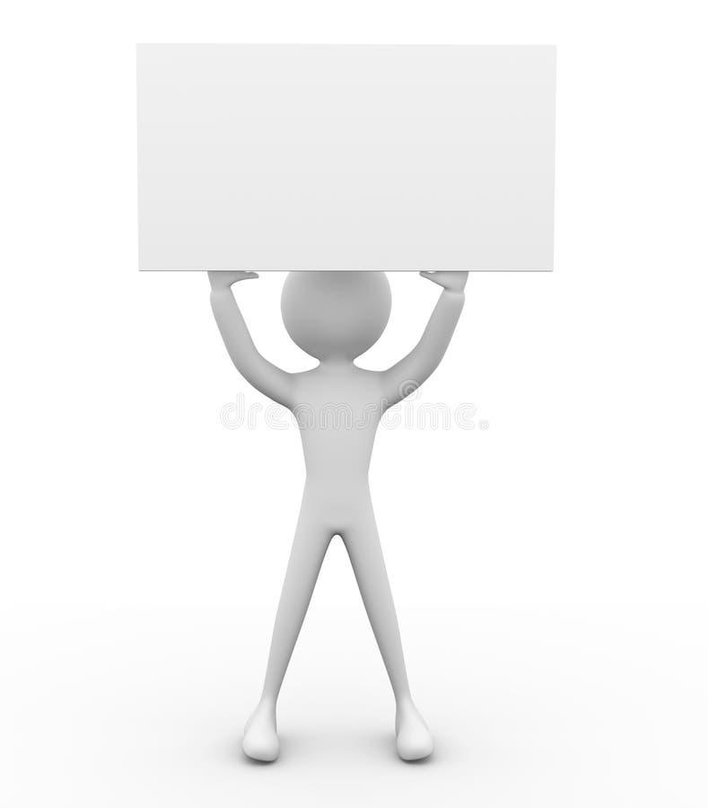 homem 3D com poster branco ilustração royalty free