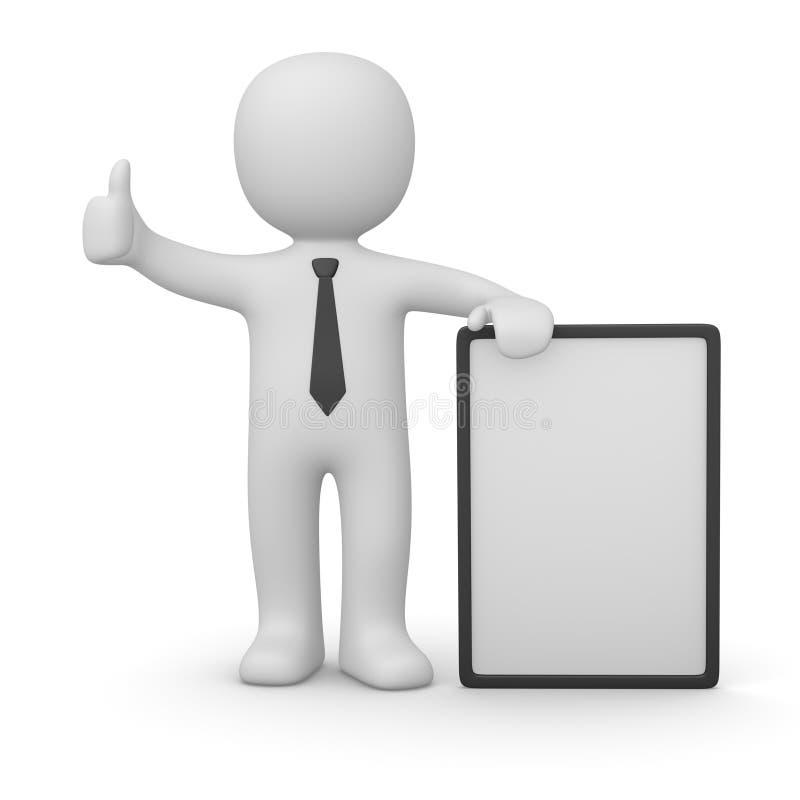 homem 3d com poster branco ilustração do vetor
