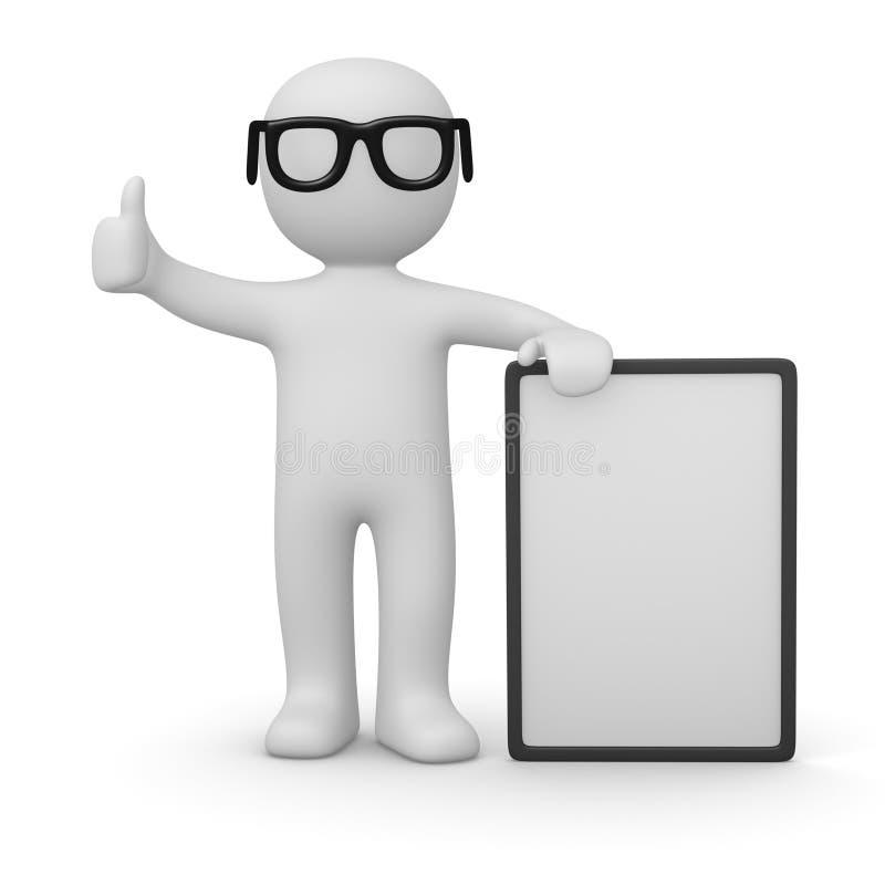 homem 3d com poster branco ilustração stock