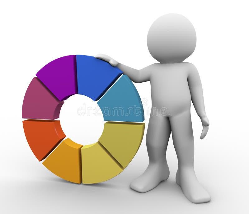 homem 3d com roda de cor ilustração do vetor