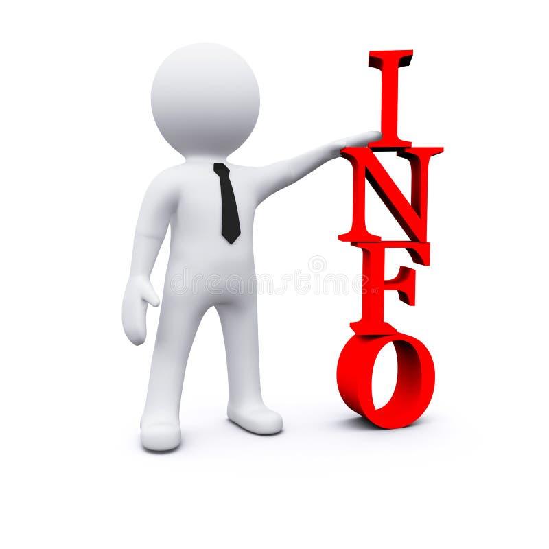 homem 3D com símbolo da informação ilustração royalty free